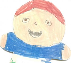 Child's drawing entitled self-portrait of August